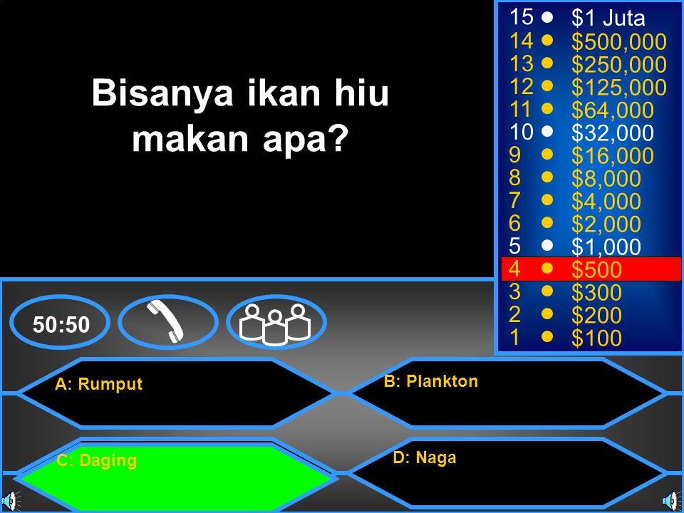 A: Rumput C: Daging B: Plankton D: Naga 50:50 15 14 13 12 11 10 9 8 7 6 5 4 3 2 1 $1 Juta $500,000 $250,000 $125,000 $64,000 $32,000 $16,000 $8,000 $4,000 $2,000 $1,000 $500 $300 $200 $100 Bisanya ikan hiu makan apa?