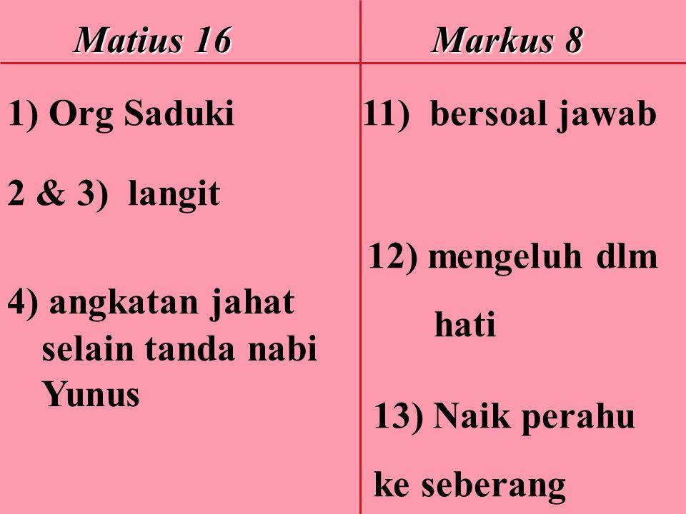 Matius 16 Markus 8 Matius 16 Markus 8 1) Org Saduki 11) bersoal jawab 2 & 3) langit 12) mengeluh dlm hati 4) angkatan jahat selain tanda nabi Yunus 13