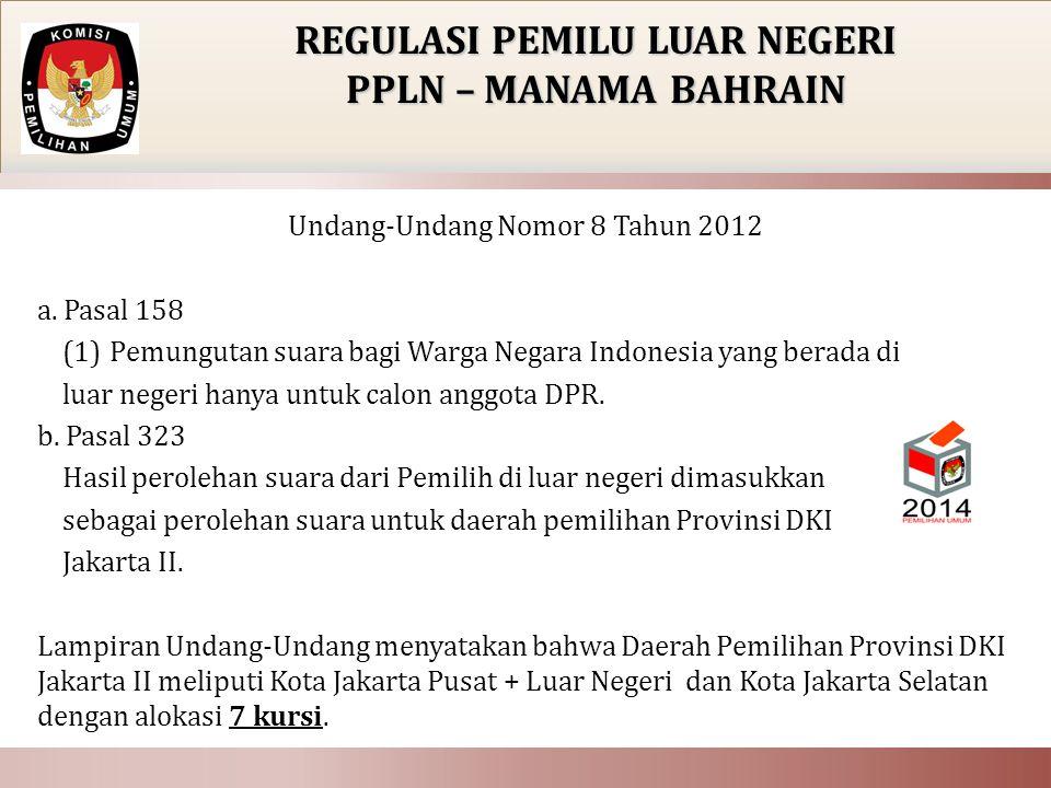 Undang-Undang Nomor 8 Tahun 2012 a. Pasal 158 (1) Pemungutan suara bagi Warga Negara Indonesia yang berada di luar negeri hanya untuk calon anggota DP