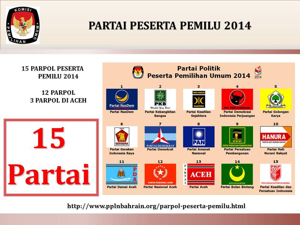 15 PARTAI POLITIK 15 PARTAI POLITIK !!! 12 PARPOL NASIONAL (+3 PARPOL ACEH )