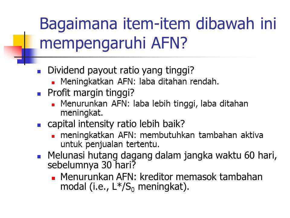 Bagaimana item-item dibawah ini mempengaruhi AFN? Dividend payout ratio yang tinggi? Meningkatkan AFN: laba ditahan rendah. Profit margin tinggi? Menu