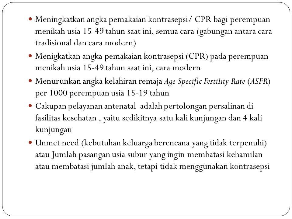 Meningkatkan angka pemakaian kontrasepsi/ CPR bagi perempuan menikah usia 15-49 tahun saat ini, semua cara (gabungan antara cara tradisional dan cara modern) Menigkatkan angka pemakaian kontrasepsi (CPR) pada perempuan menikah usia 15-49 tahun saat ini, cara modern Menurunkan angka kelahiran remaja Age Specific Fertility Rate (ASFR) per 1000 perempuan usia 15-19 tahun Cakupan pelayanan antenatal adalah pertolongan persalinan di fasilitas kesehatan, yaitu sedikitnya satu kali kunjungan dan 4 kali kunjungan Unmet need (kebutuhan keluarga berencana yang tidak terpenuhi) atau Jumlah pasangan usia subur yang ingin membatasi kehamilan atau membatasi jumlah anak, tetapi tidak menggunakan kontrasepsi