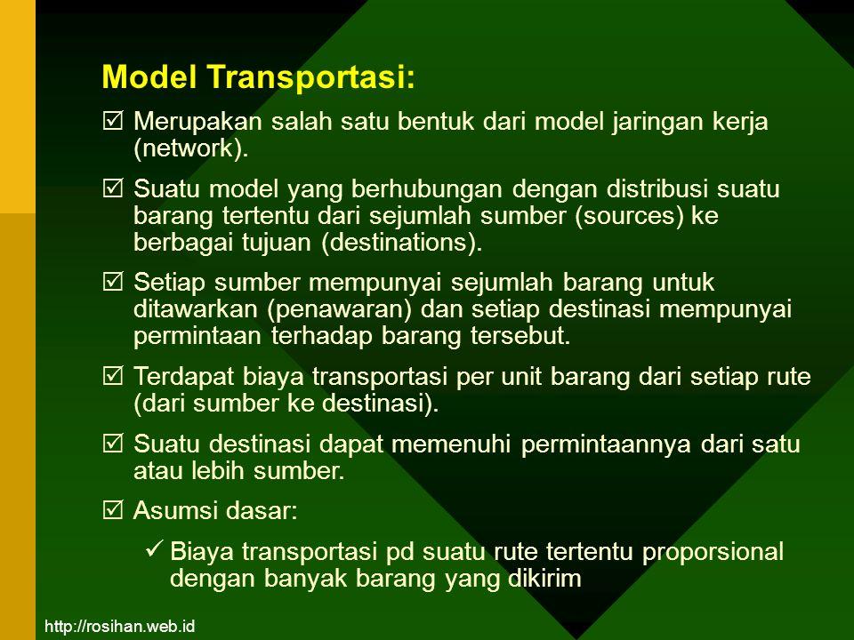 Contoh persoalan Model Transportasi: Suatu perusahaan tekstil mempunyai tiga pabrik di tiga tempat yang berbeda, yaitu P1, P2 dan P3 dengan kepasitas masing- masing 60, 80 dan 70 ton per bulan.