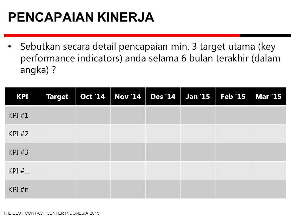 THE BEST CONTACT CENTER INDONESIA 2015 PENCAPAIAN KINERJA Sebutkan secara detail pencapaian min. 3 target utama (key performance indicators) anda sela