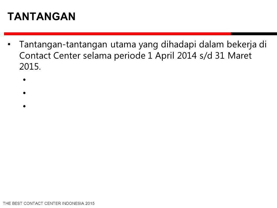 THE BEST CONTACT CENTER INDONESIA 2015 TANTANGAN Tantangan-tantangan utama yang dihadapi dalam bekerja di Contact Center selama periode 1 April 2014 s