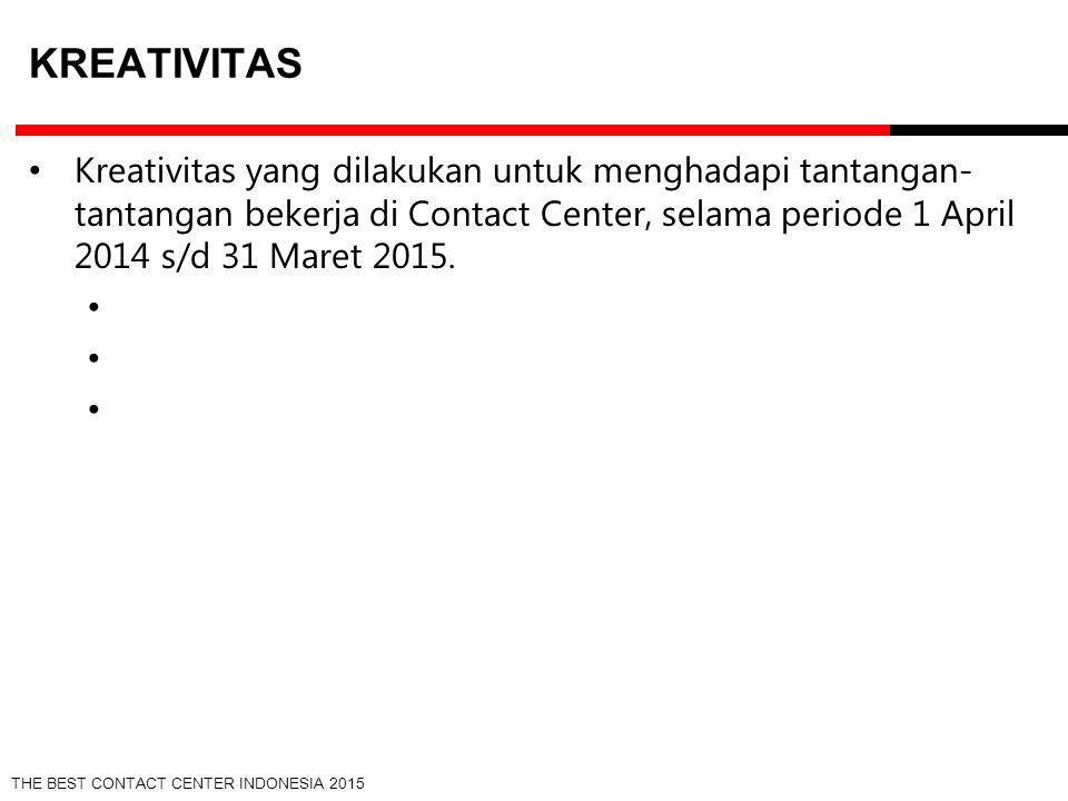 THE BEST CONTACT CENTER INDONESIA 2015 KREATIVITAS Kreativitas yang dilakukan untuk menghadapi tantangan- tantangan bekerja di Contact Center, selama