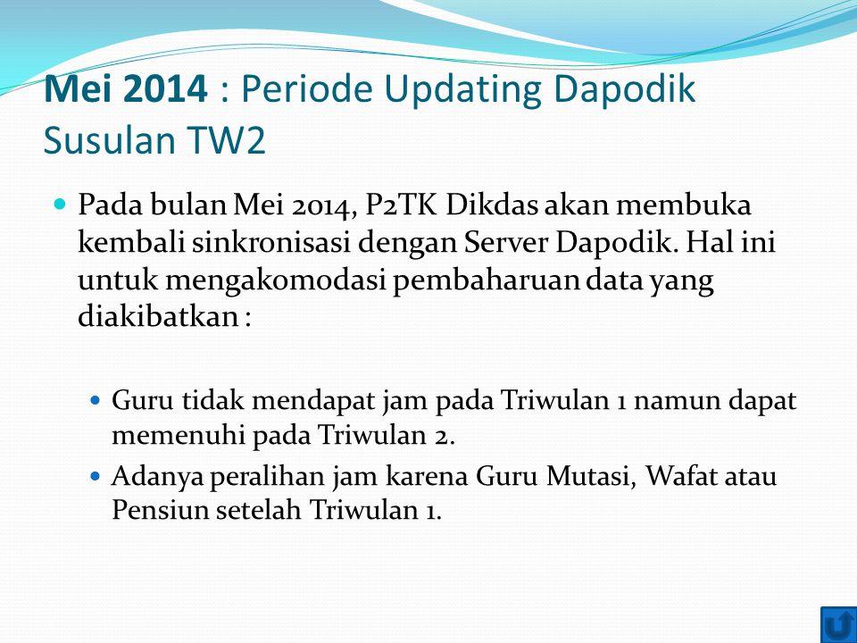 Mei 2014 : Periode Updating Dapodik Susulan TW2 Pada bulan Mei 2014, P2TK Dikdas akan membuka kembali sinkronisasi dengan Server Dapodik. Hal ini untu