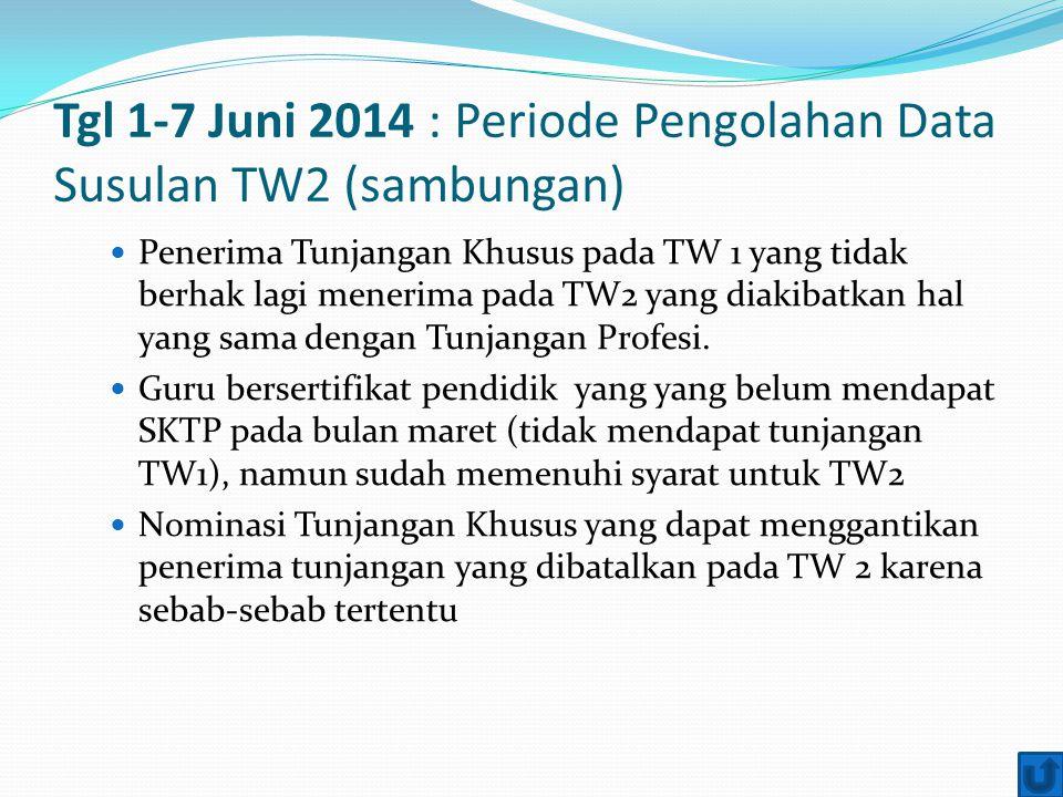 Tgl 1-7 Juni 2014 : Periode Pengolahan Data Susulan TW2 (sambungan) Penerima Tunjangan Khusus pada TW 1 yang tidak berhak lagi menerima pada TW2 yang