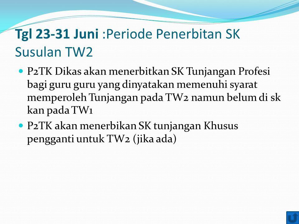 Tgl 23-31 Juni :Periode Penerbitan SK Susulan TW2 P2TK Dikas akan menerbitkan SK Tunjangan Profesi bagi guru guru yang dinyatakan memenuhi syarat memp