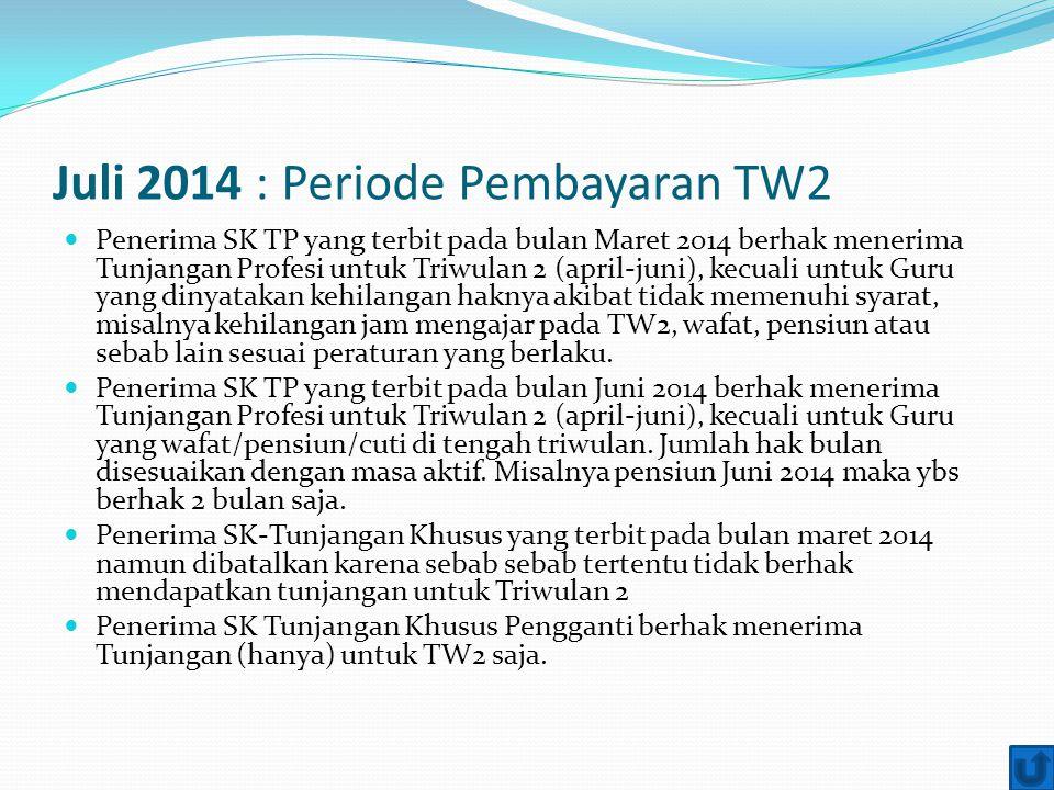 Juli 2014 : Periode Pembayaran TW2 Penerima SK TP yang terbit pada bulan Maret 2014 berhak menerima Tunjangan Profesi untuk Triwulan 2 (april-juni), k