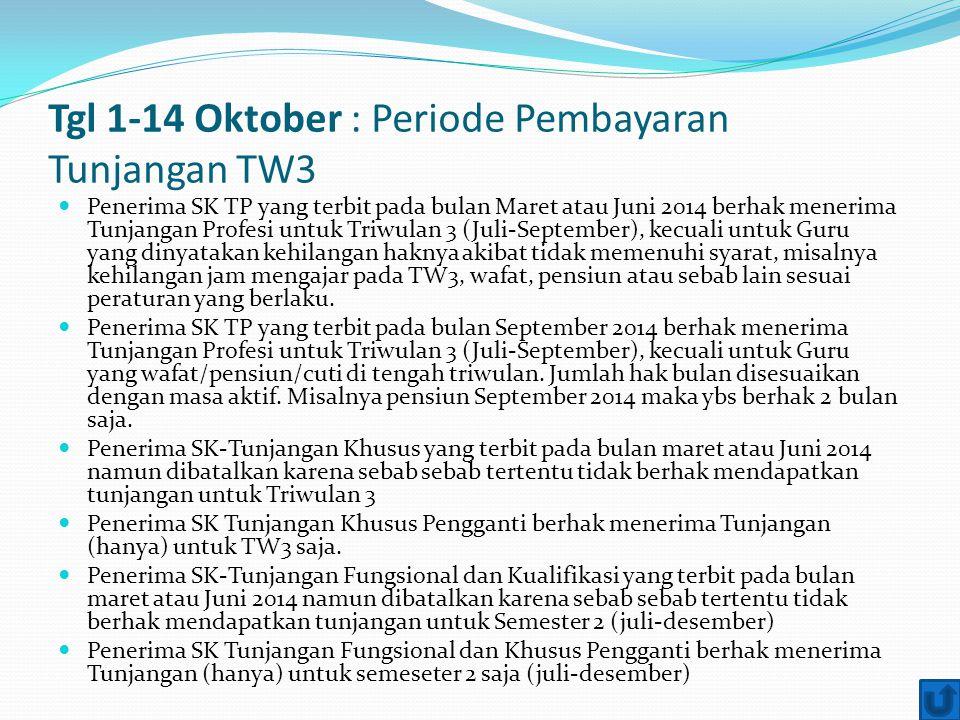 Tgl 1-14 Oktober : Periode Pembayaran Tunjangan TW3 Penerima SK TP yang terbit pada bulan Maret atau Juni 2014 berhak menerima Tunjangan Profesi untuk