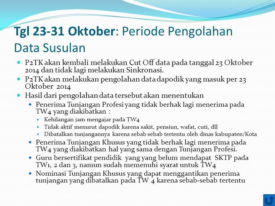 Tgl 23-31 Oktober: Periode Pengolahan Data Susulan P2TK akan kembali melakukan Cut Off data pada tanggal 23 Oktober 2014 dan tidak lagi melakukan Sink
