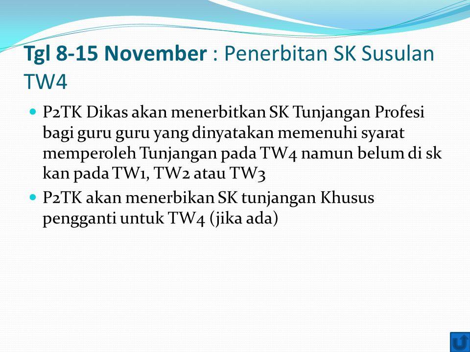 Tgl 8-15 November : Penerbitan SK Susulan TW4 P2TK Dikas akan menerbitkan SK Tunjangan Profesi bagi guru guru yang dinyatakan memenuhi syarat memperol