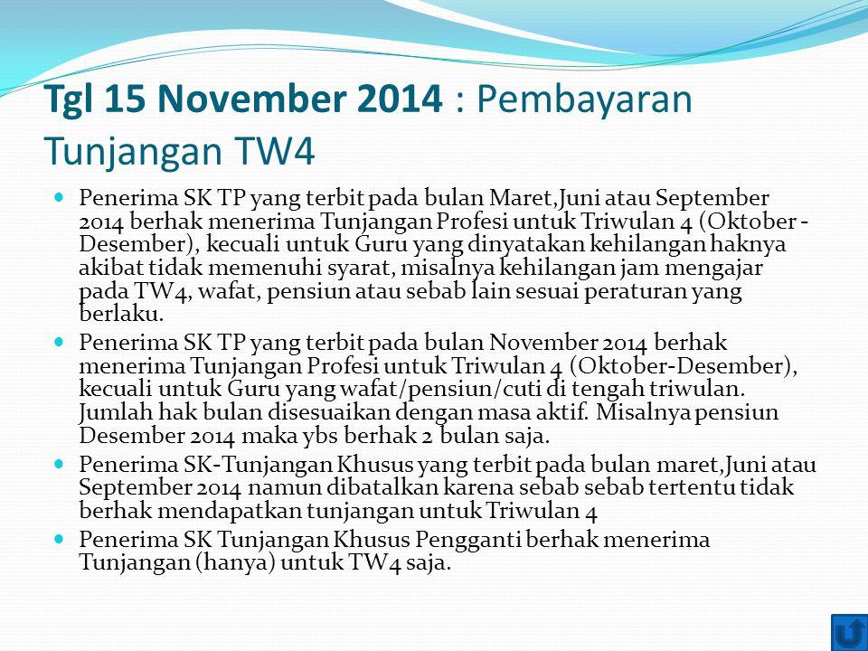 Tgl 15 November 2014 : Pembayaran Tunjangan TW4 Penerima SK TP yang terbit pada bulan Maret,Juni atau September 2014 berhak menerima Tunjangan Profesi