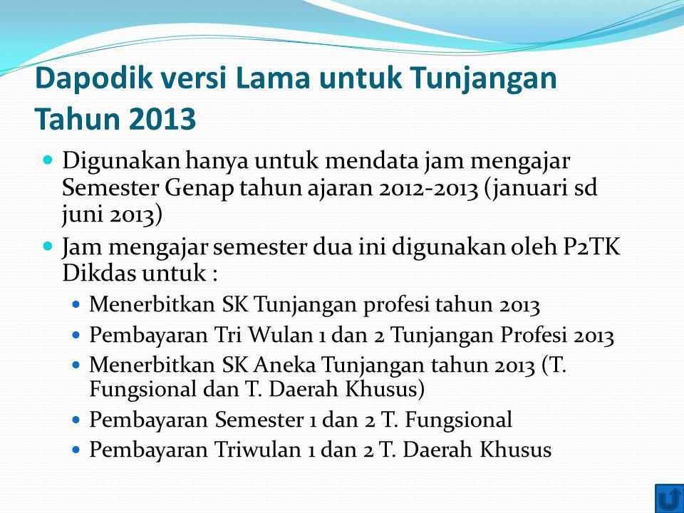 Dapodik versi Lama untuk Tunjangan Tahun 2013 Digunakan hanya untuk mendata jam mengajar Semester Genap tahun ajaran 2012-2013 (januari sd juni 2013)