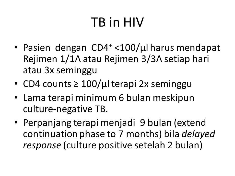 TB in HIV Pasien dengan CD4 + <100/µl harus mendapat Rejimen 1/1A atau Rejimen 3/3A setiap hari atau 3x seminggu CD4 counts ≥ 100/µl terapi 2x semingg