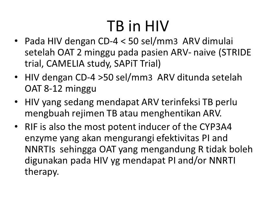 TB in HIV Pada HIV dengan CD-4 < 50 sel/mm 3 ARV dimulai setelah OAT 2 minggu pada pasien ARV- naive (STRIDE trial, CAMELIA study, SAPiT Trial) HIV de