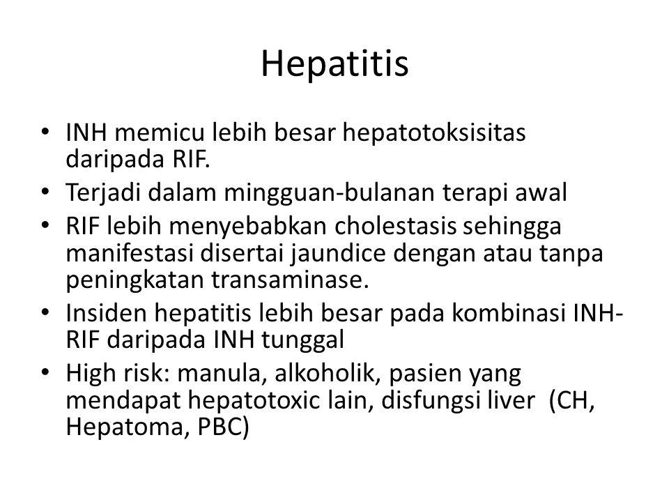 Hepatitis INH memicu lebih besar hepatotoksisitas daripada RIF. Terjadi dalam mingguan-bulanan terapi awal RIF lebih menyebabkan cholestasis sehingga