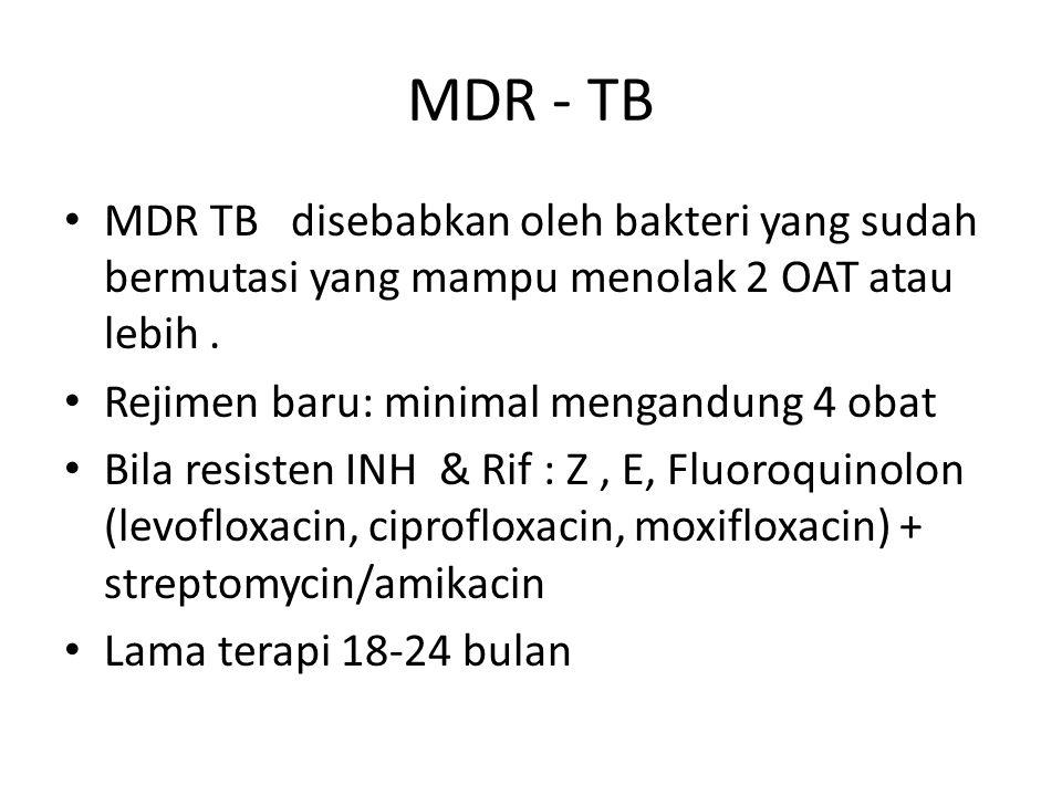 TB IN ELDERLY Infeksi laten: INH 300mg selama 6-9 bulan atau RIF 4 bulan Infeksi Aktif: sama seperti rejimen dewasa atau INH+RIF+PZA+EMB setiap hari selama 2 minggu diikuti 2x seminggu selama 6 minggu, kemudian INH+RIF 2x seminggu selama 16 minggu