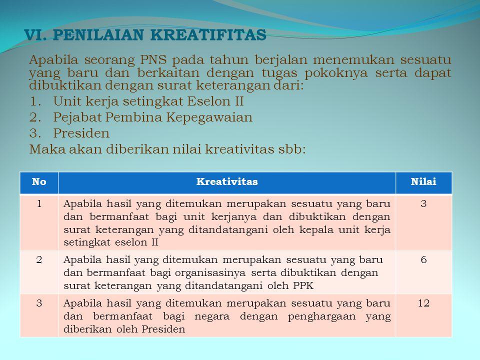 V. PENILAIAN TUGAS TAMBAHAN NoTugas tambahanNilai 1.Tugas tambahan yang dilakukan dalam 1 tahun sebanyak 1-3 kegiatan 1 2.Tugas tambahan yang dilakuka