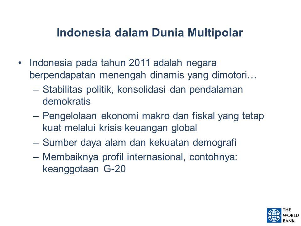 Indonesia dalam Dunia Multipolar Indonesia pada tahun 2011 adalah negara berpendapatan menengah dinamis yang dimotori… –Stabilitas politik, konsolidasi dan pendalaman demokratis –Pengelolaan ekonomi makro dan fiskal yang tetap kuat melalui krisis keuangan global –Sumber daya alam dan kekuatan demografi –Membaiknya profil internasional, contohnya: keanggotaan G-20