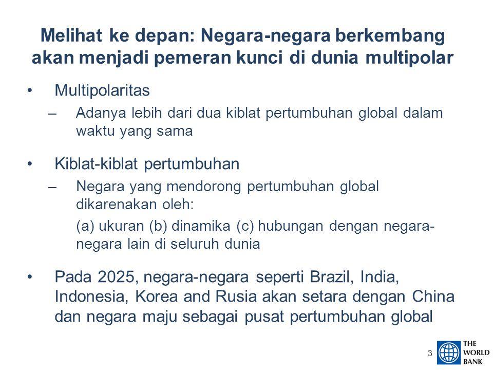 3 Multipolaritas –Adanya lebih dari dua kiblat pertumbuhan global dalam waktu yang sama Kiblat-kiblat pertumbuhan –Negara yang mendorong pertumbuhan global dikarenakan oleh: (a) ukuran (b) dinamika (c) hubungan dengan negara- negara lain di seluruh dunia Pada 2025, negara-negara seperti Brazil, India, Indonesia, Korea and Rusia akan setara dengan China dan negara maju sebagai pusat pertumbuhan global Melihat ke depan: Negara-negara berkembang akan menjadi pemeran kunci di dunia multipolar
