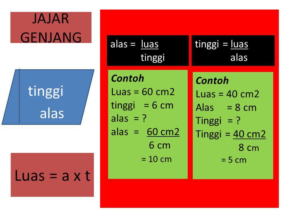 JAJAR GENJANG tinggi = luas alas Contoh Luas = 40 cm2 Alas = 8 cm Tinggi = ? Tinggi = 40 cm2 8 c m = 5 cm alas = luas tinggi Contoh Luas = 60 cm2 ting