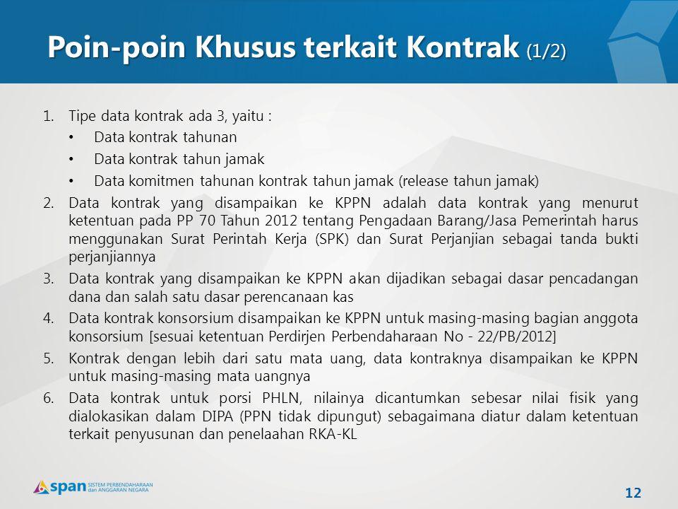 Poin-poin Khusus terkait Kontrak (1/2) 1.Tipe data kontrak ada 3, yaitu : Data kontrak tahunan Data kontrak tahun jamak Data komitmen tahunan kontrak