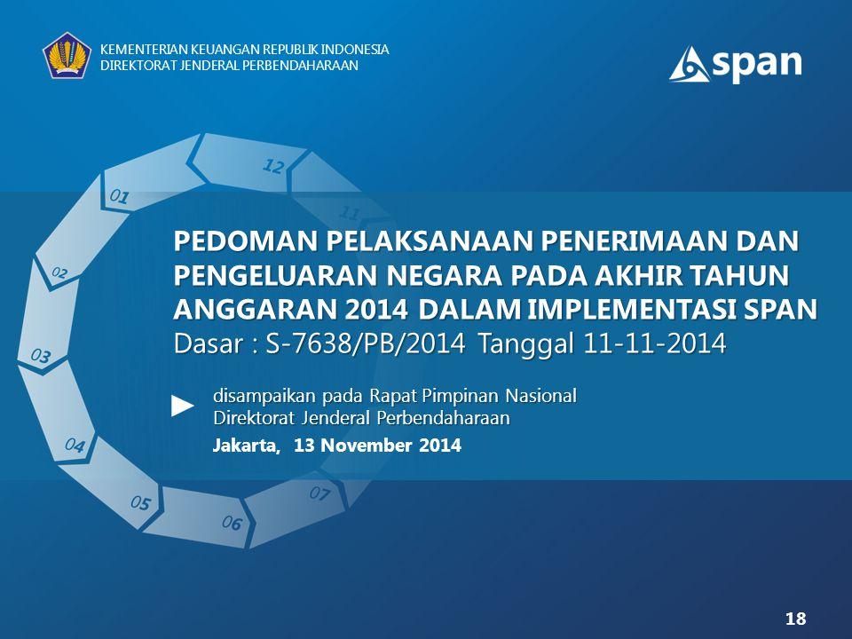 18 KEMENTERIAN KEUANGAN REPUBLIK INDONESIA DIREKTORAT JENDERAL PERBENDAHARAAN PEDOMAN PELAKSANAAN PENERIMAAN DAN PENGELUARAN NEGARA PADA AKHIR TAHUN A