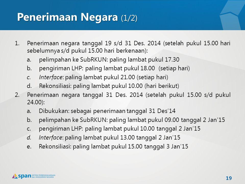 1.Penerimaan negara tanggal 19 s/d 31 Des. 2014 (setelah pukul 15.00 hari sebelumnya s/d pukul 15.00 hari berkenaan): a.pelimpahan ke SubRKUN: paling