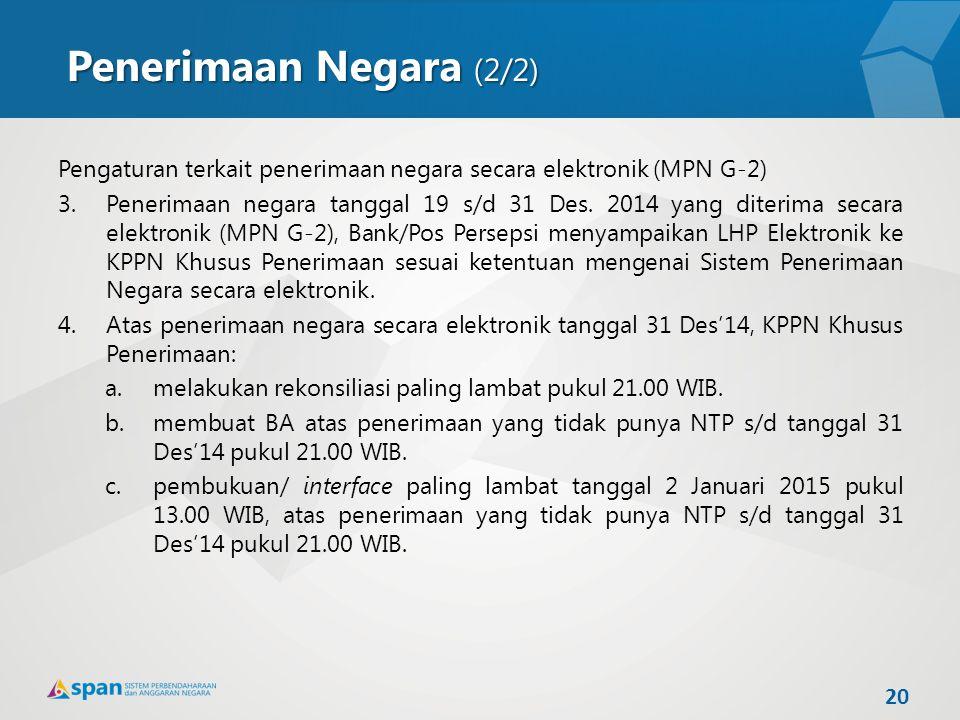 20 Pengaturan terkait penerimaan negara secara elektronik (MPN G-2) 3.Penerimaan negara tanggal 19 s/d 31 Des. 2014 yang diterima secara elektronik (M