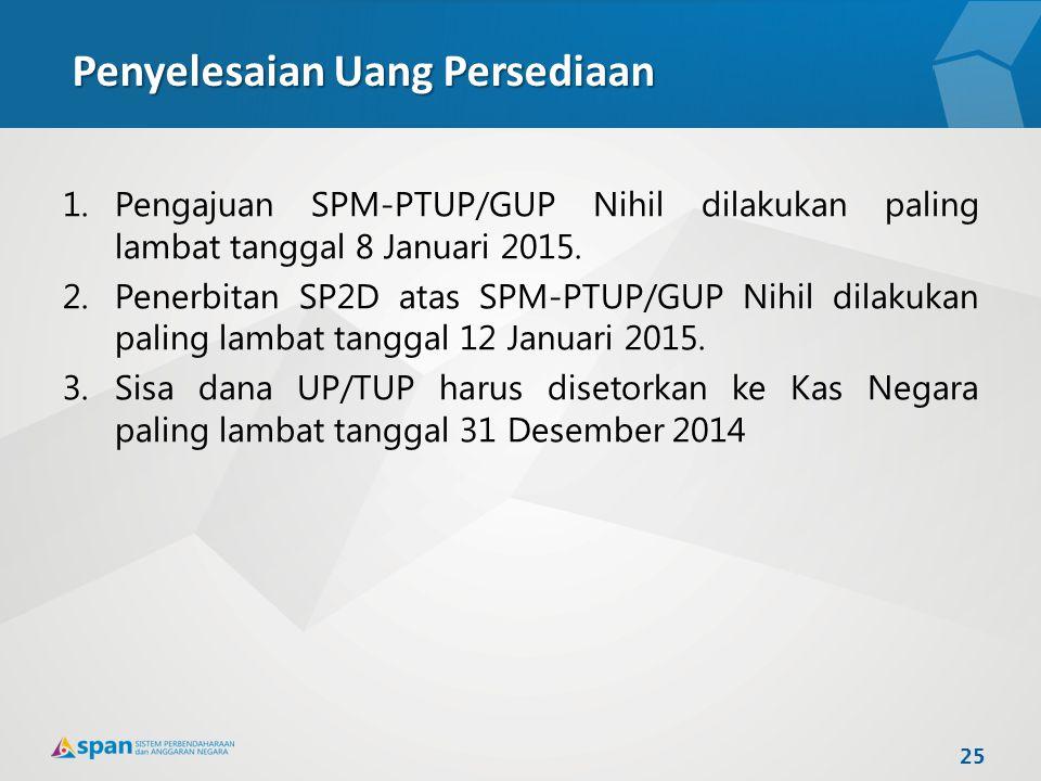 Penyelesaian Uang Persediaan 1.Pengajuan SPM-PTUP/GUP Nihil dilakukan paling lambat tanggal 8 Januari 2015. 2.Penerbitan SP2D atas SPM-PTUP/GUP Nihil