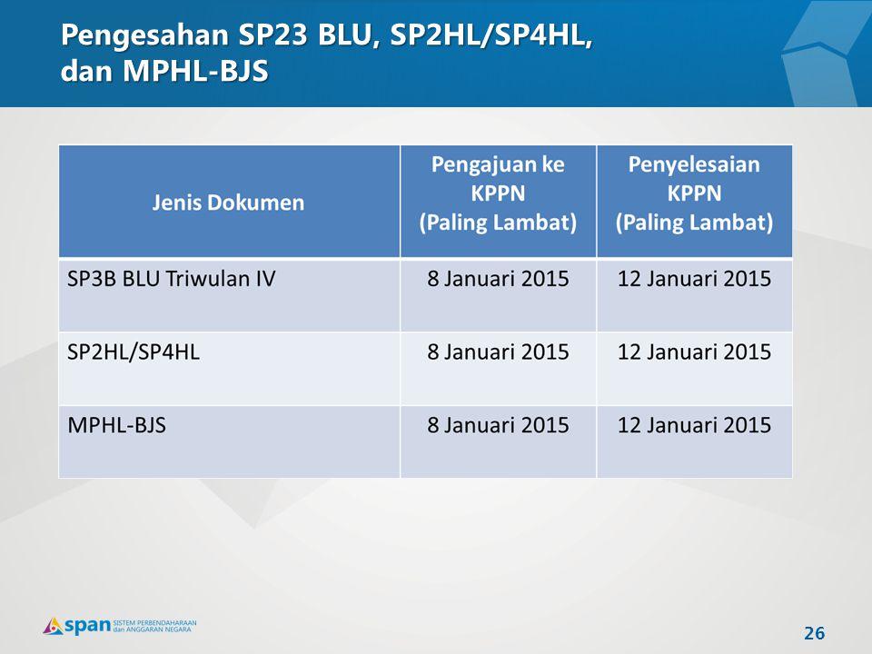 Pengesahan SP23 BLU, SP2HL/SP4HL, dan MPHL-BJS 26