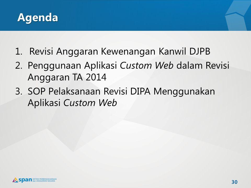 Agenda 1.Revisi Anggaran Kewenangan Kanwil DJPB 2.Penggunaan Aplikasi Custom Web dalam Revisi Anggaran TA 2014 3.SOP Pelaksanaan Revisi DIPA Menggunak