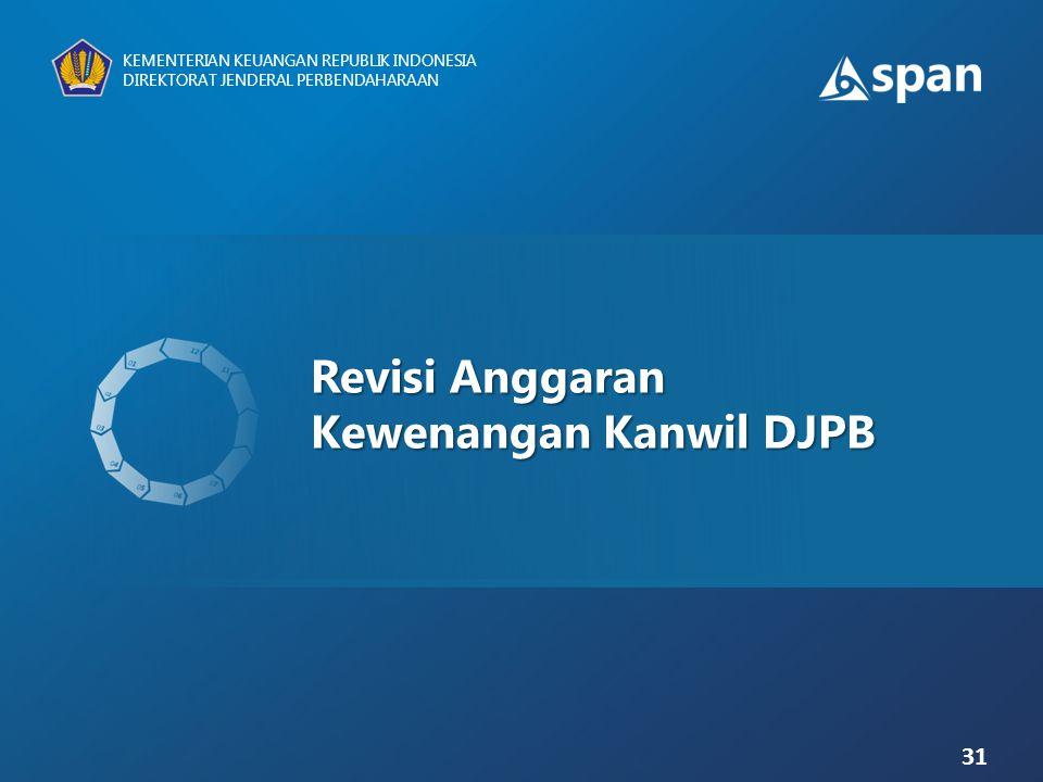 Revisi Anggaran Kewenangan Kanwil DJPB 31 KEMENTERIAN KEUANGAN REPUBLIK INDONESIA DIREKTORAT JENDERAL PERBENDAHARAAN