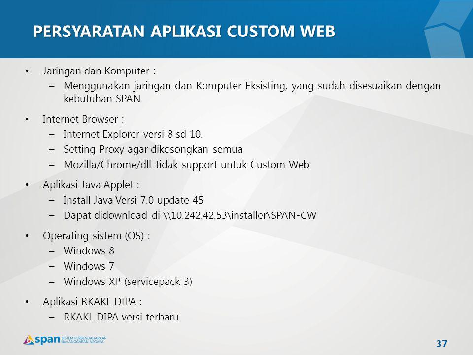 PERSYARATAN APLIKASI CUSTOM WEB Jaringan dan Komputer : – Menggunakan jaringan dan Komputer Eksisting, yang sudah disesuaikan dengan kebutuhan SPAN In