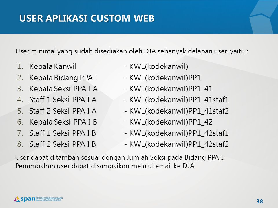 USER APLIKASI CUSTOM WEB User minimal yang sudah disediakan oleh DJA sebanyak delapan user, yaitu : 1.Kepala Kanwil - KWL(kodekanwil) 2.Kepala Bidang