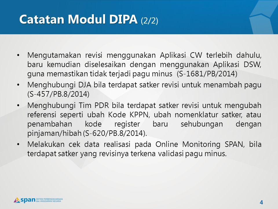 Catatan Modul DIPA Catatan Modul DIPA (2/2) Mengutamakan revisi menggunakan Aplikasi CW terlebih dahulu, baru kemudian diselesaikan dengan menggunakan
