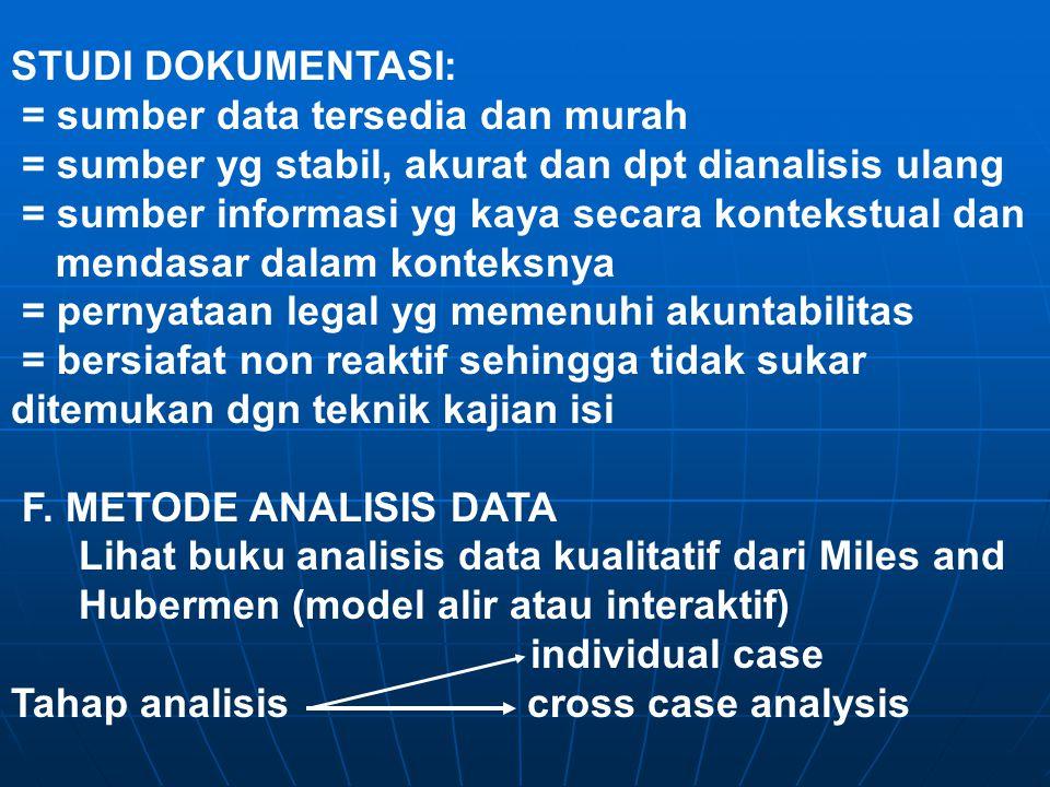 STUDI DOKUMENTASI: = sumber data tersedia dan murah = sumber yg stabil, akurat dan dpt dianalisis ulang = sumber informasi yg kaya secara kontekstual