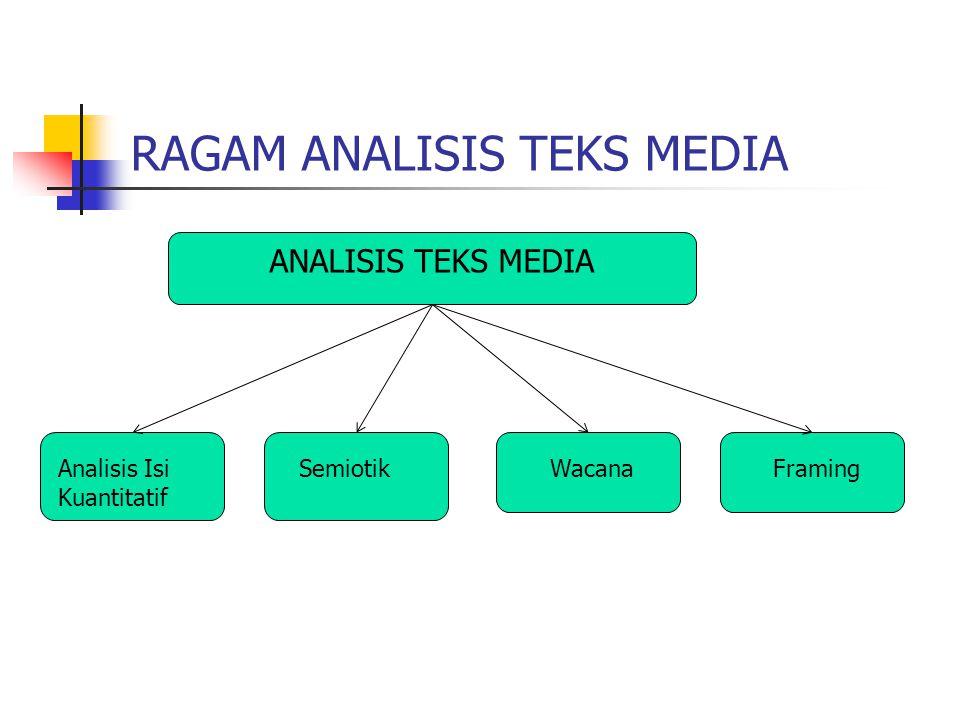 RAGAM ANALISIS TEKS MEDIA ANALISIS TEKS MEDIA Analisis Isi Kuantitatif SemiotikWacanaFraming
