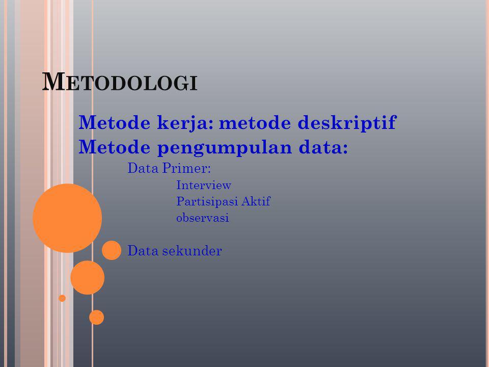 M ETODOLOGI Metode kerja: metode deskriptif Metode pengumpulan data: Data Primer: Interview Partisipasi Aktif observasi Data sekunder