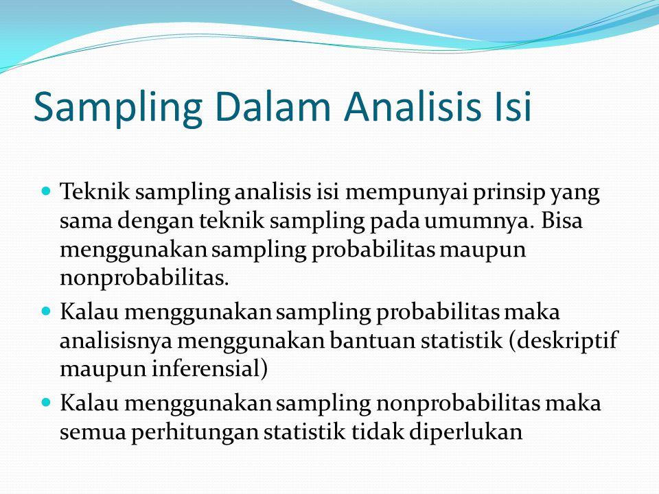 Sampling Dalam Analisis Isi Teknik sampling analisis isi mempunyai prinsip yang sama dengan teknik sampling pada umumnya. Bisa menggunakan sampling pr