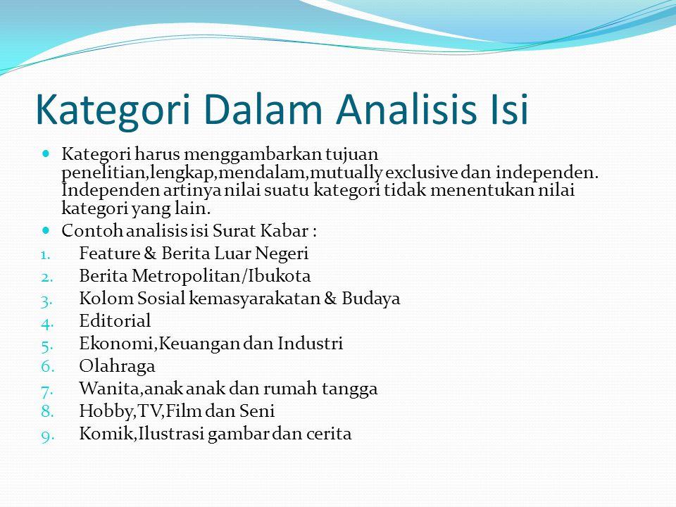Kategori Dalam Analisis Isi Kategori harus menggambarkan tujuan penelitian,lengkap,mendalam,mutually exclusive dan independen. Independen artinya nila