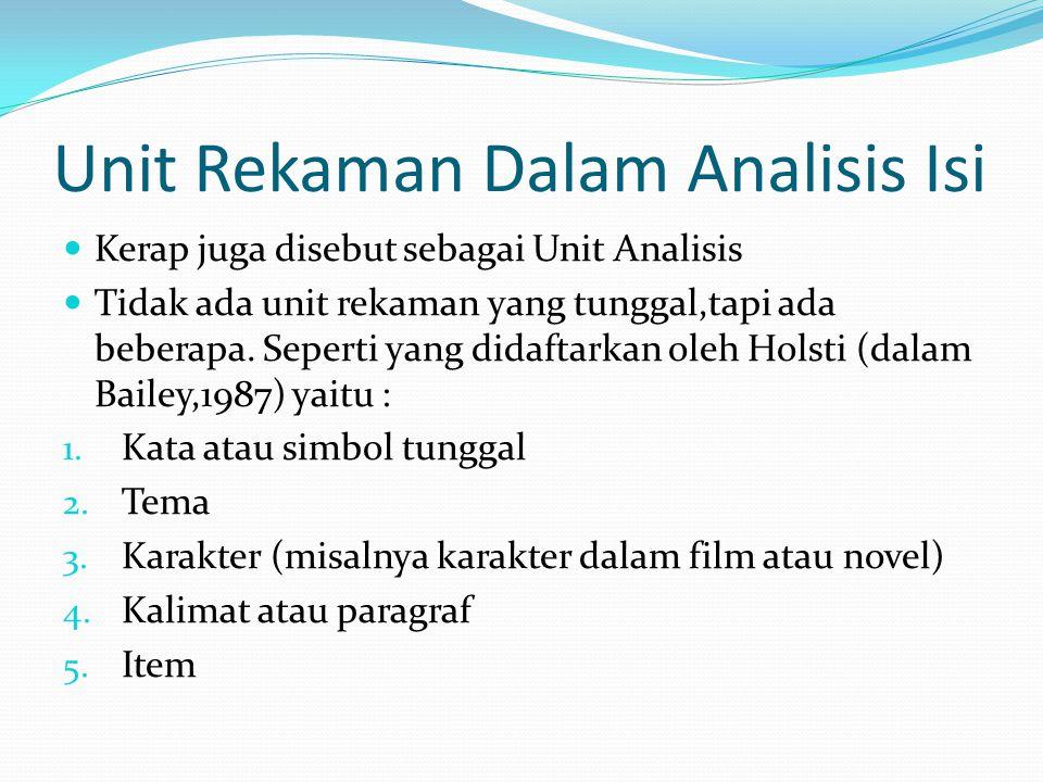 Unit Rekaman Dalam Analisis Isi Kerap juga disebut sebagai Unit Analisis Tidak ada unit rekaman yang tunggal,tapi ada beberapa. Seperti yang didaftark