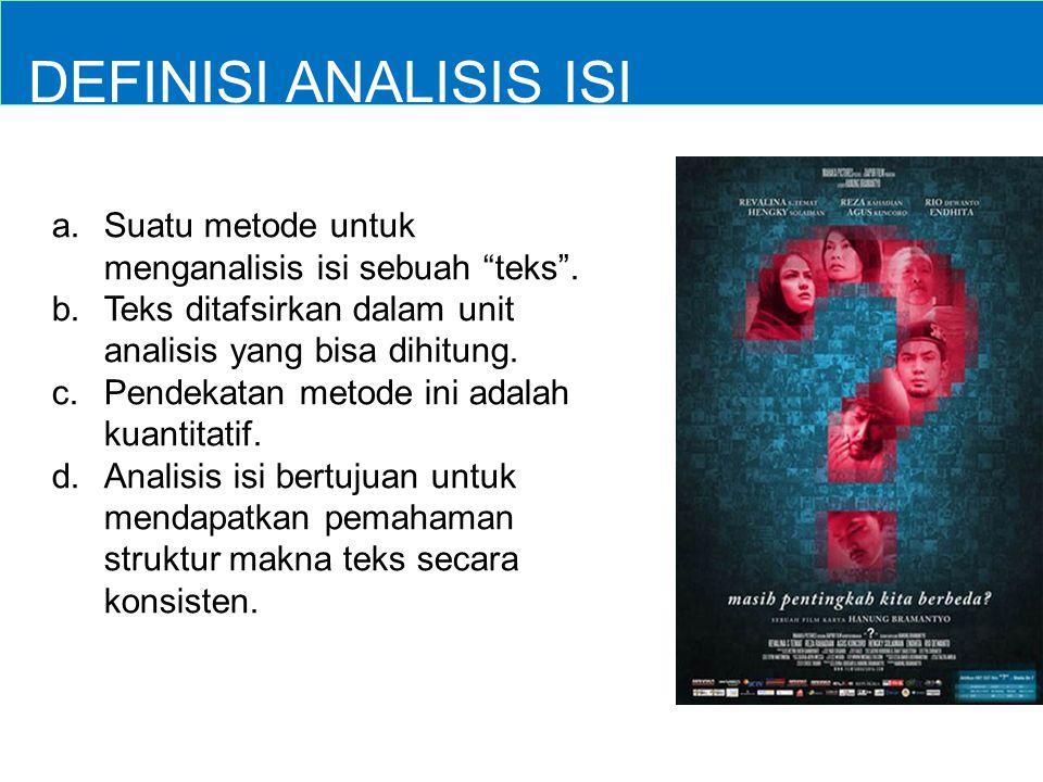 """DEFINISI ANALISIS ISI a. a.Suatu metode untuk menganalisis isi sebuah """"teks"""". b. b.Teks ditafsirkan dalam unit analisis yang bisa dihitung. c. c.Pende"""
