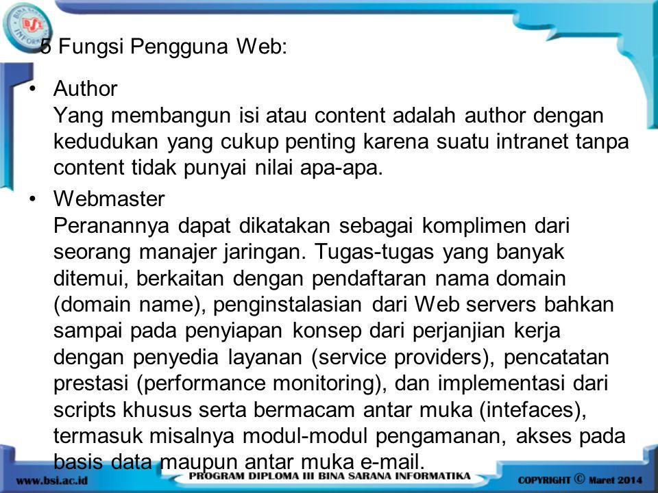 Author Yang membangun isi atau content adalah author dengan kedudukan yang cukup penting karena suatu intranet tanpa content tidak punyai nilai apa-apa.