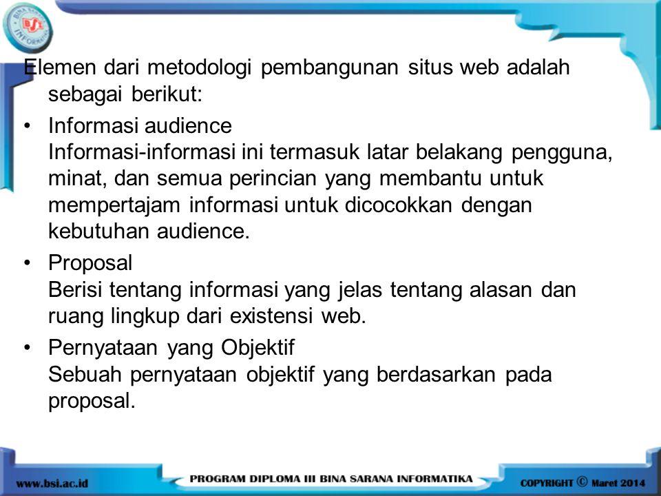 Elemen dari metodologi pembangunan situs web adalah sebagai berikut: Informasi audience Informasi-informasi ini termasuk latar belakang pengguna, minat, dan semua perincian yang membantu untuk mempertajam informasi untuk dicocokkan dengan kebutuhan audience.