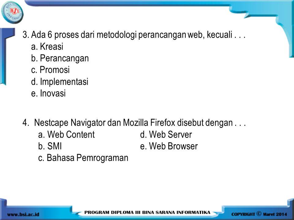 3.Ada 6 proses dari metodologi perancangan web, kecuali...