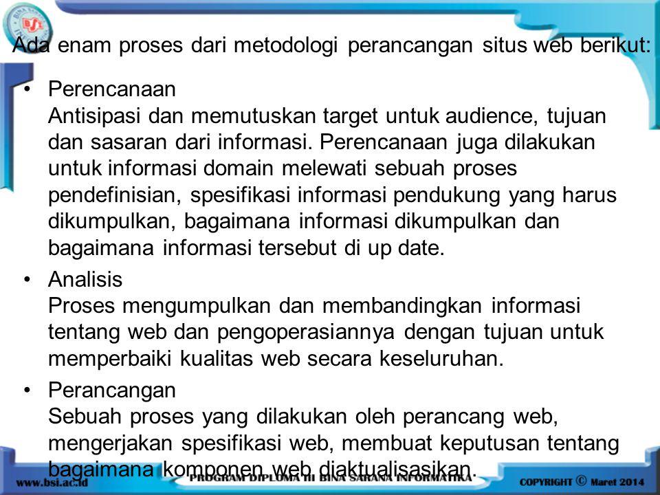 Ada enam proses dari metodologi perancangan situs web berikut: Perencanaan Antisipasi dan memutuskan target untuk audience, tujuan dan sasaran dari informasi.