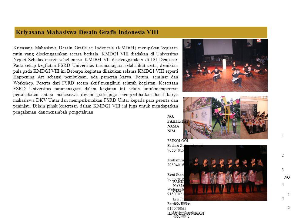Kriyasana Mahasiswa Desain Grafis Indonesia VIII Kriyasana Mahasiswa Desain Grafis se Indonesia (KMDGI) merupakan kegiatan rutin yang diselenggarakan